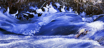 Ice Shroud over running water. Ice shroud sculpted by the fast flowing water of an Icelandic Stream Stock Image
