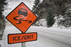 Ice sign. Road sign warning of icy conditions on a snow covered road Stock Images