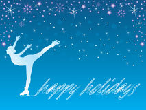 Ice skate / happy holidays. Vector illustration of ice skater, winter holidays concept Royalty Free Stock Images