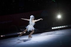 Ice skate performer during Ringling Brothers and Barnum show in. BROOKLYN, NEW YORK - FEBRUARY 25: Ice skate performer during Ringling Brothers and Barnum show Royalty Free Stock Image