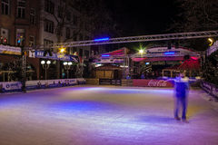 Ice skate rink at Christmas market Royalty Free Stock Image
