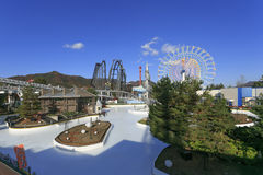 Ice skate rink park and Big Ferry wheel at Fuji Q highland, Japa Stock Photo