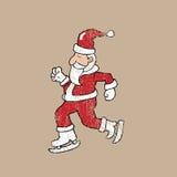 Ice skate Santa stamp Stock Image