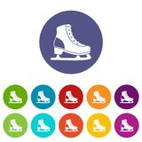 Ice skate set icons Stock Images