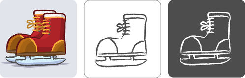 Ice Skate Shoes Color Sketch Royalty Free Stock Images