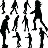 Ice skate silhouette. Group of ten ice skaters silhouette vector Stock Photography