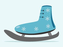Ice skate with snowflakes. Ice skate decorated with snowflakes  on blue background with drop shadow. EPS 8 vector illustration, no transparency Royalty Free Stock Images