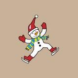 Ice skate snowman Royalty Free Stock Photo