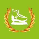 Ice skate sport olympic blue badge Royalty Free Stock Image