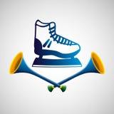 Ice skate sport olympic blue badge Royalty Free Stock Photos