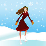 Ice skate vector. Nice woman and ice skate background Stock Photos