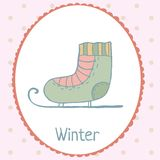 Ice skate winter card polka dot backdrop hand Stock Image