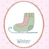 Ice skate winter card polka dot backdrop hand. Ice skate winter card polk a dot backdrop hand drawn illustration Stock Image