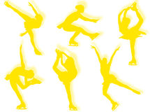 Ice skater silhouettes Royalty Free Stock Photos