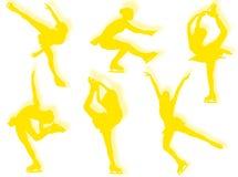 Ice skater silhouettes Royalty Free Stock Photos