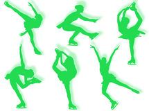 Ice skater silhouettes Royalty Free Stock Image