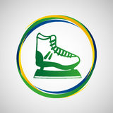 Ice skater sport badge icon Royalty Free Stock Photography