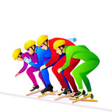 Ice-skaters. Colorful short-track ice-skaters at the start line Royalty Free Stock Image
