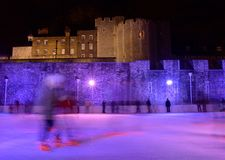 Ice Skaters. On Rink by Tower of London Royalty Free Stock Photography