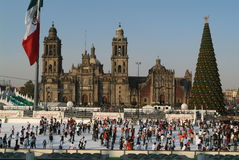 Ice skaters in front of cathedral Metropolitana, M Stock Image