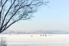 Ice Skaters on a Frozen Lake II Royalty Free Stock Images