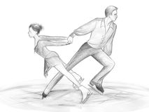 Ice skaters - illustration. Black and white illustration hand made with pencils: a pair of figure skaters Royalty Free Stock Photo