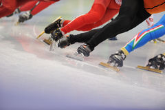 Ice-Skaters Legs Close Up Royalty Free Stock Photography