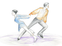 Ice skaters - watercolour Stock Photography