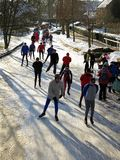 Ice skaters in winter landscape in snowy Holland Stock Photography