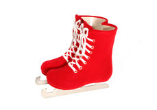 Ice Skates. Red ice skates with white laces isolated over white Stock Images