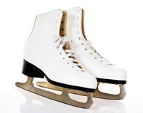 Ice skates. A pair of white figure ice skates Royalty Free Stock Image