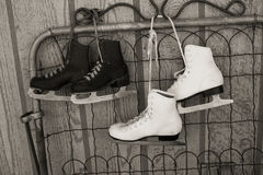 Ice skates in black and white Stock Image
