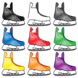 Ice Skates in Different Colours Pencil Style 2 Royalty Free Stock Photography