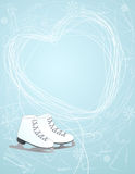 Ice skates with a heart symbol Royalty Free Stock Photos