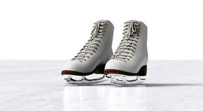 Ice skates isolated on ice floor.  Royalty Free Stock Images