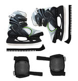 Ice skates and protective accessories Stock Image
