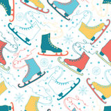 Ice skates seamless patterns with snowflakes and snow background. Hand drawn colorful backdrop for figure sport design Stock Photography