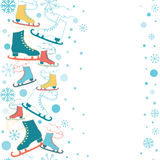 Ice skates seamless vertical border with snowflakes and snow background. Royalty Free Stock Photos