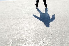 Ice Skates. On the ice with shaddow Stock Photos