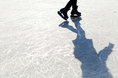 Ice Skates. On the ice with shaddow Royalty Free Stock Image