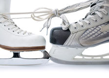 Ice skates tied against each other Royalty Free Stock Photo