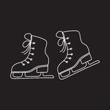 Ice skates vector line illustration isolated Royalty Free Stock Image
