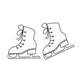 Ice skates vector line illustration isolated Royalty Free Stock Images