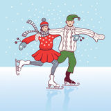 Ice skating. Girl and boy ice skating and having fun in the snow Stock Image