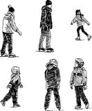 Ice skating. Vector drawing of children skating on a city park Royalty Free Stock Images