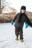 Ice skating. Boy ice skating for the first time Stock Photo