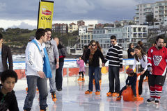 Ice skating on a beach Royalty Free Stock Photography