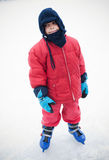 Ice skating boy. Cute little boy ice skating alone Royalty Free Stock Photos