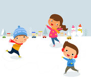 Ice skating boys and girl.  illustration. Royalty Free Stock Photography