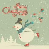 Ice skating cartoon snowman Stock Photography